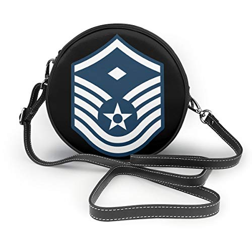 Air Force Master Sergeant 1st SGT Diamond Rank Women Round Leather Shoulder Bags Tote Beach Bags Bag