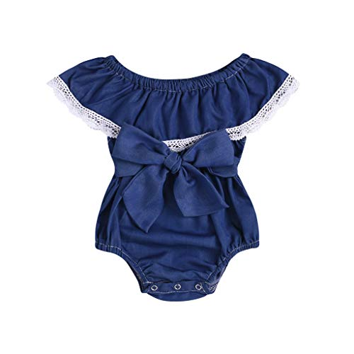 Girls' Romper Outfits Newborn Girls' Solid Lace Bow Ruffle Sleeveless Summer Bodysuit Jumpsuit (Age: 3-6 Months, Blue) -
