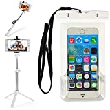 VG Case Selfie Photo Stick Bundle with White Waterproof Cell Phone Armband Case Dry Bag Pouch Suitable for iPhone Xs Max 6.5'', 8 Plus 5.5''