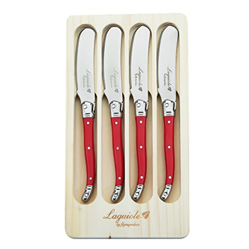 (FlyingColors Laguiole Butter Knife/Spreaders Set, Stainless Steel, 4 Pieces (Red))