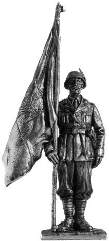 Officer-standard bearer of the Alpine shooters (Italy) Tin Toy Soldiers Metal Sculpture Miniature Figure Collection 54mm (scale 1/32) (Misc102)