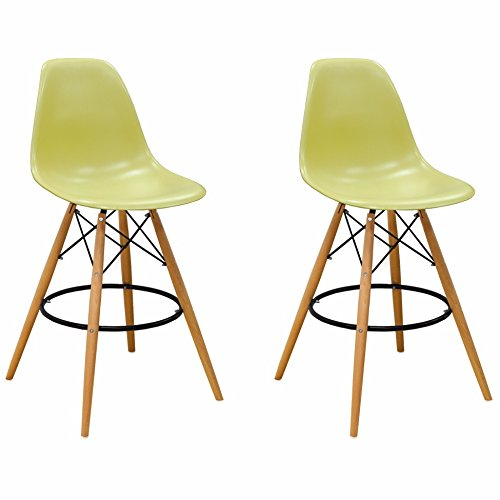 Mod Made Mid Century Modern Armless Paris Tower Barstool Chair with Natural Wood Legs for Bar or Kitchen- Green (Set of 2)
