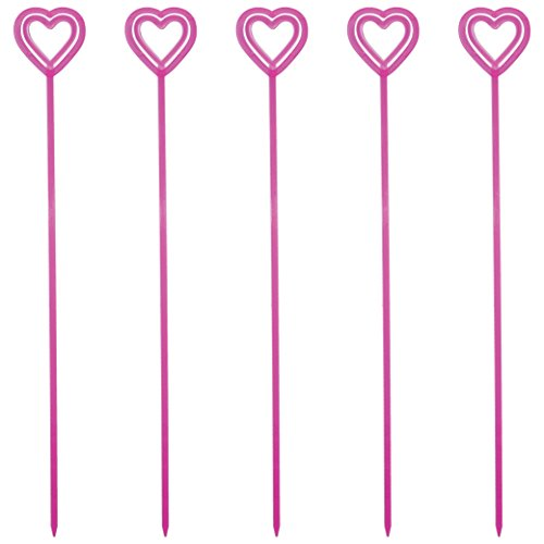 c Heart Valentine's Day Floral Picks, Card Holders, Set of 100 (Transparent Pink) - Made In USA ()