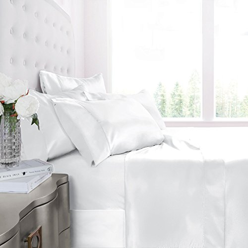 white satin bed sheets - 2