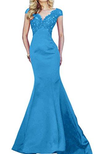 Toscana novia dibujos para mujer One-Shoulder Mermaid tul vestidos de noche vestidos de bola de los bloques de fiesta largo Azul