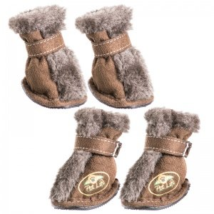 Pet Life Brown Ultra Fur Comfort Dog Boots MD