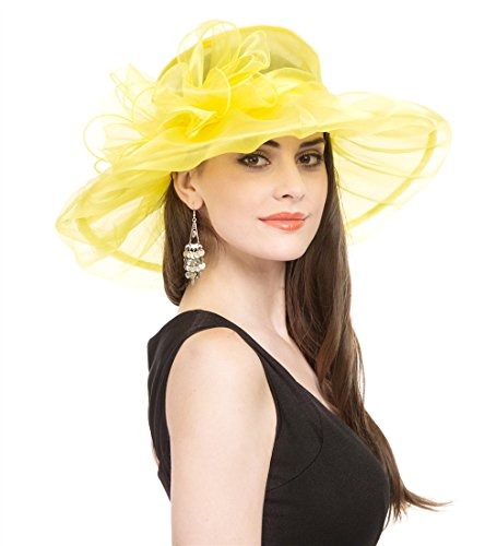 Saferin Women Dress Organza Kentucky Derby Church Wedding Wide Brim Polyester Race Top Sun Protection Hat (Yellow with -