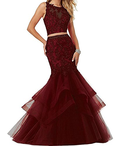Bonnie Beaded Lace Embroidered Prom Dresses Long Mermaid Two Piece Formal Prom Party Ball Gowns BS014