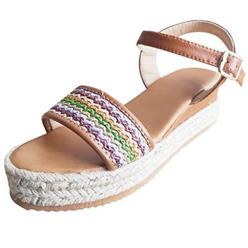 Zlolia Women's Color Stripe Wedge Sandals Open Toe Wrap Ankle Heeled Rubber Sole Adjustable Crisscross Strap Platform Flat Brown
