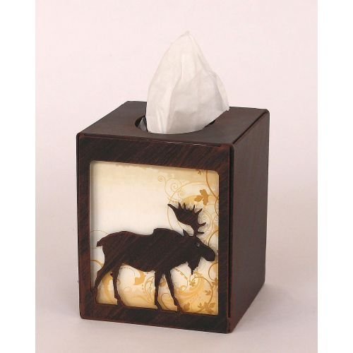 Coast Lamp Manufacturer 15-R25G Iron Moose Square Tissue Box Cover - Burnt Sienna from Coast Lamp Manufacturer