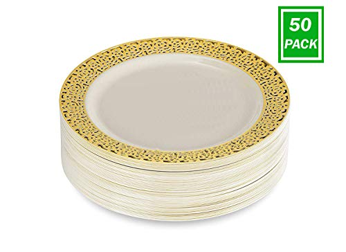Dinner Disposable Plastic Plates Pack of 50 Ivory Color with Gold Lace Rim 10.25 Inch ...
