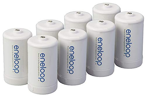 Panasonic BQ-BS1E8SA eneloop D Size Battery Adapters for Use with Ni-MH Rechargeable AA Battery Cells, 8 Pack