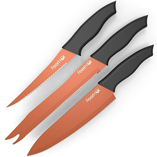 Copper Knife Set 3 Pieces - Copper Kitchen Knife - Red Copper Knife Set - Copper Knife As Seen On Tv - Copper Knives Titanium