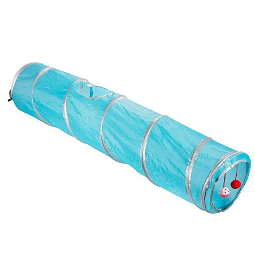 Juvale Pack of 1 Pet Agility Play Tunnel Tube Accessory Gift - Pet Training Toy for Small Pets, Dogs, Cats, Rabbits, Teal - 47 x 9.75 inches (Ring Sides Baguette)