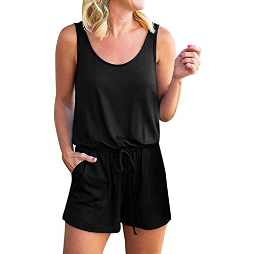 (LiLiMeng 2019 New Womens Summer Solid Scoop Neck Drawstring Sleeveless Tank Top Pockets Jumpsuit Rompers Shorts Black)