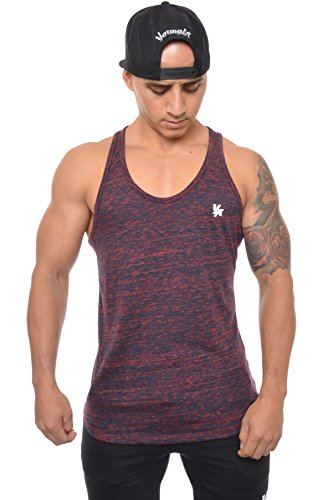 - YoungLA Mens Stringer Gym Tank Top Muscle Bodybuilding Powerlifting 302 Navy Red X-Large