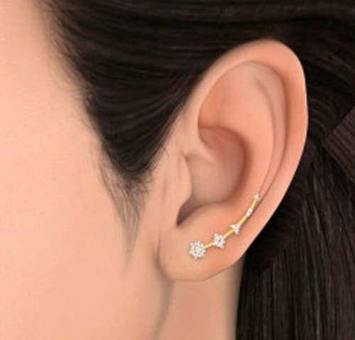 Or jaune 18 K 0,49 carat au total White-diamond (IJ | SI) Boucles d'oreille à tige