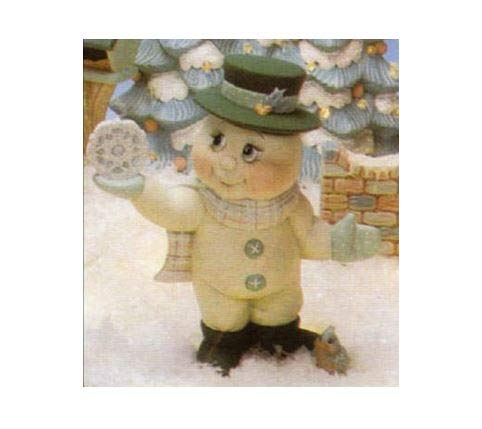 Snowman with Snowflake on Hand - Unpainted Ceramic Bisque - Hand Poured in The USA