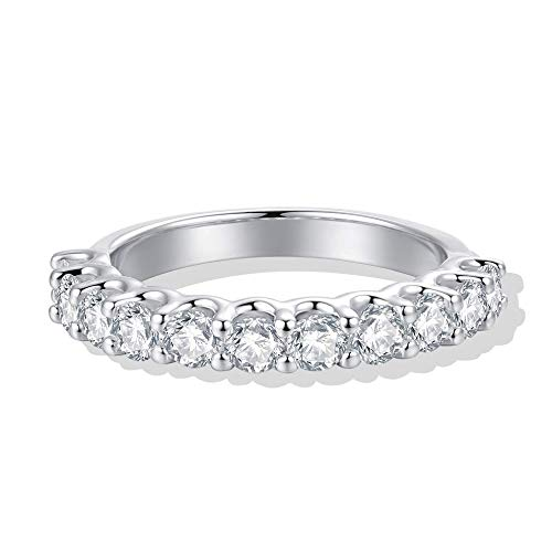 3mm Rhodium Plated Sterling Silver Simulated Diamond Cubic Zirconia CZ Half Eternity Wedding Band Ring, 1.1cttw (9) ()