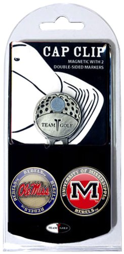 Team Golf NCAA Ole Miss Rebels Golf Cap Clip with 2 Removable Double-Sided Enamel Magnetic Ball Markers, Attaches Easily to Hats ()
