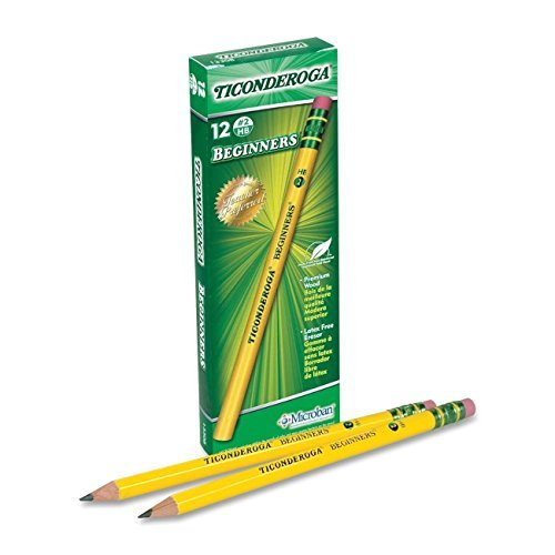 Beginners Pencil Ticonderoga Wood - Dixon Ticonderoga Beginners Primary Pencils, #2, Yellow, Box of 12 (13308) 8 Pack