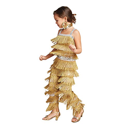 CHASING FIREFLIES Ballroom Dancer Costume For Girls (Includes Sequin Hoop Earrings & Gold Sequin Choker) -