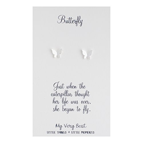 (My Very Best Tiny Butterfly Stud Earrings (Silver Plated Brass))