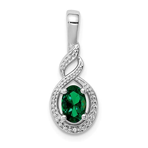 925 Sterling Silver Created Green Emerald Diamond Pendant Charm Necklace Set Birthstone May Fine Jewelry Gifts For Women For Her