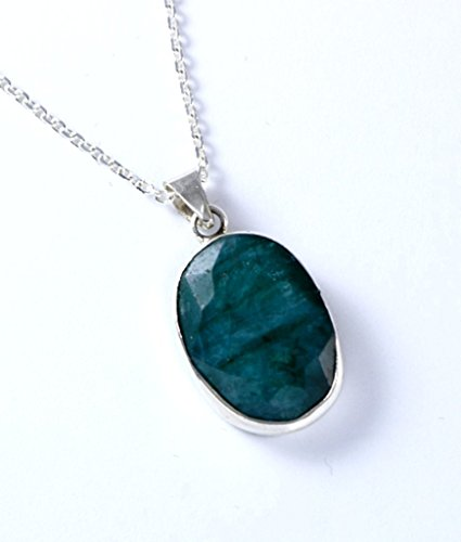Emerald Circle Pendant - Sterling Silver Oval Genuine Faceted Green Emerald May Birthstone Heart Chakra Handmade Pendant 18+2'' Chain