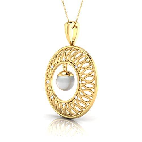 14K Or blanc 0,05CT TW Round-cut-diamond (IJ | SI) et perle Pendentif