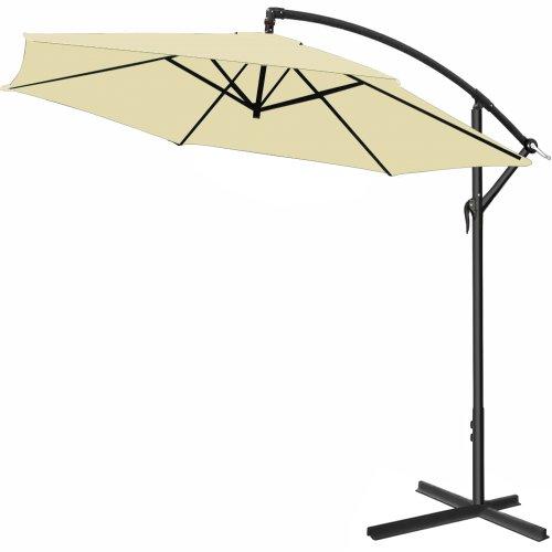 Alu Ampelschirm Ø 300 cm creme, höhenverstellbar mit Kurbelvorrichtung - Sonnenschirm Schirm Gartenschirm Marktschirm