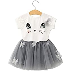 Girl Dress,Haoricu Fall Kids Baby Cute Cat Pattern Shirt Top Tutu Skirt Girls Dress Set (Size:6T, White)
