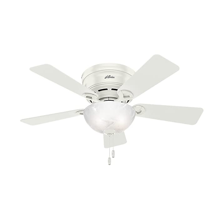 Hunter Indoor Low Profile Ceiling Fan with light and pull chain control - Haskell 42 inch, White, 52138