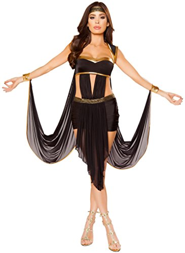 Women's Pharaoh Cleopatra Halloween Costume - Black/Gold - -