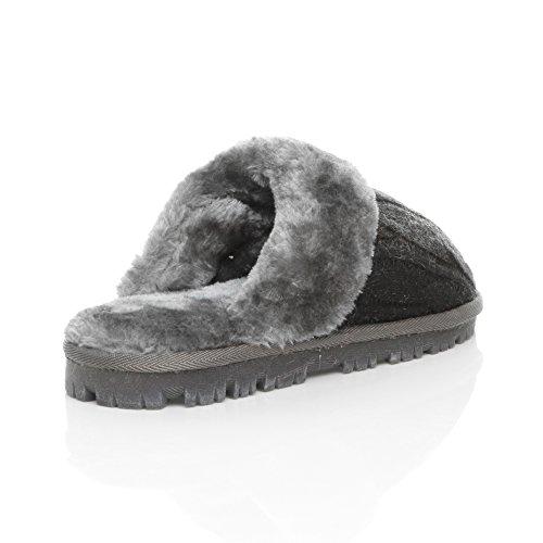 Ajvani - Zapatillas de estar por casa para mujer Grey Knitted