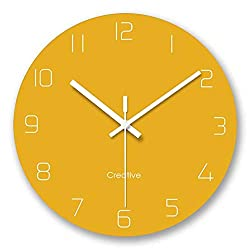 FlorLife Large Modern Wall Clocks Vintage Style Round Glass Wall Clock, Wall Decor Clocks for Kitchen, Office, Retro Hanging Clock, Home Decor Accessories - Yellow