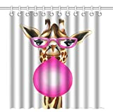 Wknoon 72 x 72 Inch Shower Curtain with Hooks, Funny Giraffe with Glasses and Pink Palette Bubble Gum Humorous Design Artwork