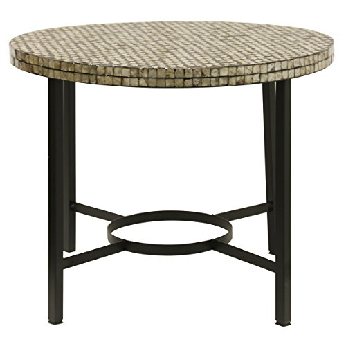 Collective Design 720354123391 Casual Metal Base Shell Inlay Top-Black Side Table,