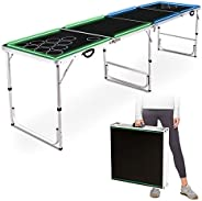 Beer Pong Table Portable Flip Cup Table Folding Games Table Lightweight Tailgate Tables with Carrying Handles