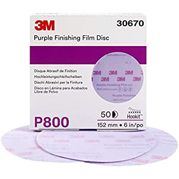 3M Hookit Purple Finishing Film Abrasive Disc 260L, 30670, 6 in, P800, 50 discs per carton