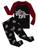 Dinosaur Little Boys Long Sleeve Glow in The Dark Pajamas Sets 100% Cotton Pyjamas Toddler Kids Pjs Size 3T Black