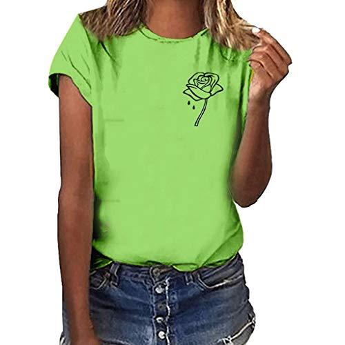 Sunhusing Ladies Simple Rose Flowers Printed Casual Comfort Round Neck Short-Sleeve T-Shirt Joker Tops