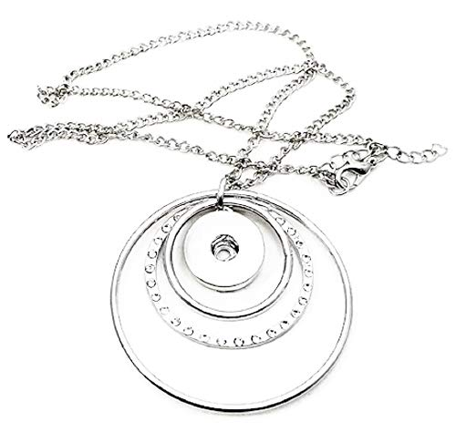 3/4 Inch Circle Charm Necklace - Pizazz Studios Rhinestone Circle Snap Charm Pendant Necklace