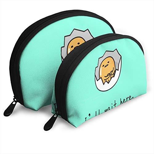 DF039ht20 Lazy Egg Shell Shape Zipper Cosmetic Bags,Travel Bag,Makeup Holder Case (2-Pack)