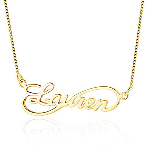 Infinity Love Women Name Necklaces 8 Shape Personalized 925 Sterling Silver Arabic Russian Name Necklace Lovers Gift Gold 40cm