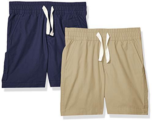 Spotted Zebra Boys' 2-Pack Pull-On Play Shorts, Khaki/Navy X-Small (4-5)