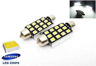 LEDIN 578 SAMSUNG 12 High Power LED Dome Light Lamp Festoon 42mm 211-2 White Bulb (A Pair)
