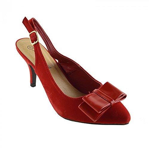 Kick Footwear Womens Kitten Heels Office Shoes Red