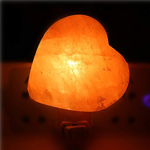 Prountet 2 Pack 7W Heart Crystal Himalayan Hand Carved Crystal Salt Wall Lamp Light