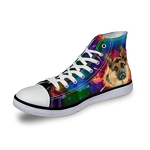 FOR U DESIGNS Men Boy Canvas Hi Top Lace Up Causal Sports Shoes Trainers German Shepherd FW1a8